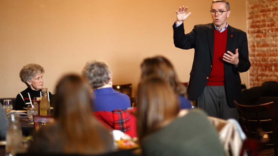 Chancellor Ronnie Green talks with a public gathering in Fremont on Jan. 23.