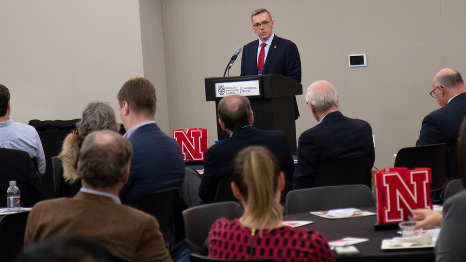 Chancellor Ronnie Green delivers remarks during the NUtech Ventures' 2018 Innovator Celebration on Nov. 6. The event recognizes faculty who have worked with NUtech to commercialize new technologies.