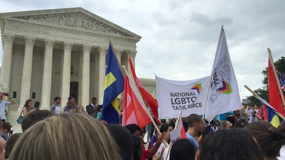 Groups celebrate on the steps of the U.S. Supreme Court after a historic 5-4 ruling that allows for same-sex marriage in all states.