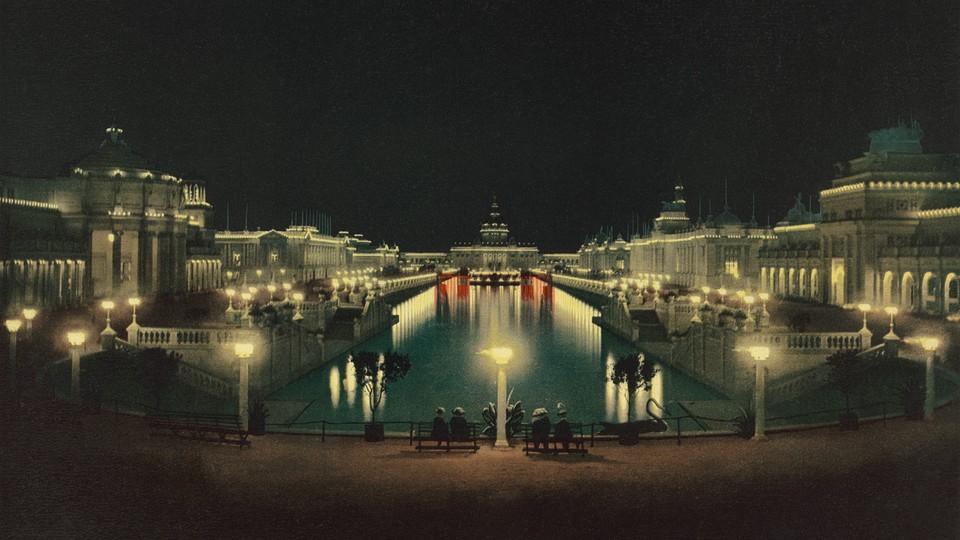 Night illumination Grand Court at the Trans-Mississippi and International Exposition Omaha Nebraska 1898.