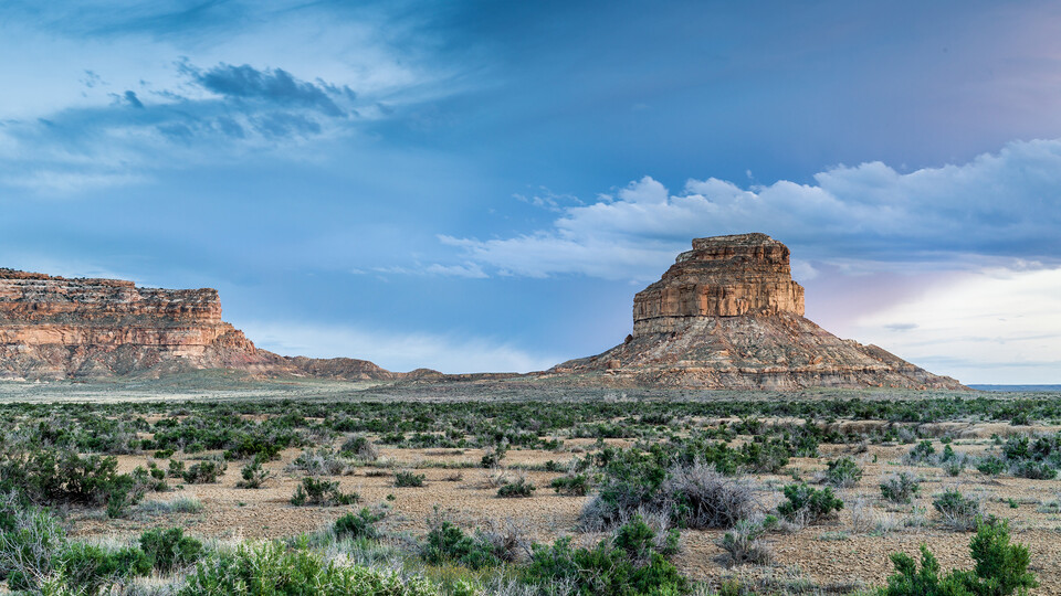 Fajada Butte stands in Chaco Culture National Historical Park.
