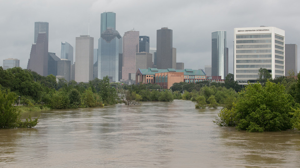 Downtown Houston after Hurricane Harvey.