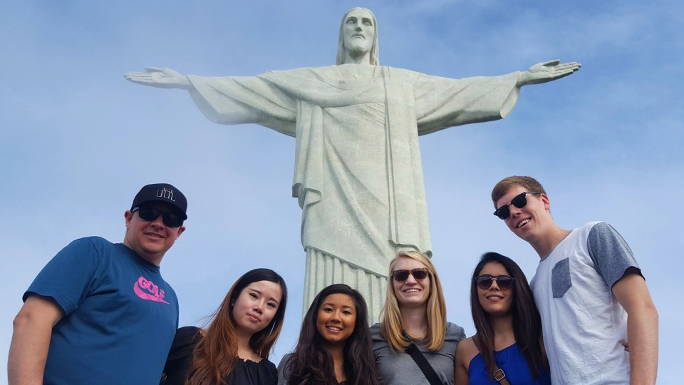 A UNL education abroad group poses under the Christ the Redeemer statue in Rio de Janeiro, Brazil. Recent changes to the way UNL manages study abroad opportunities and a campuswide investment in overseas programs has helped increase the number of students studying overseas by 52 percent in recent years.