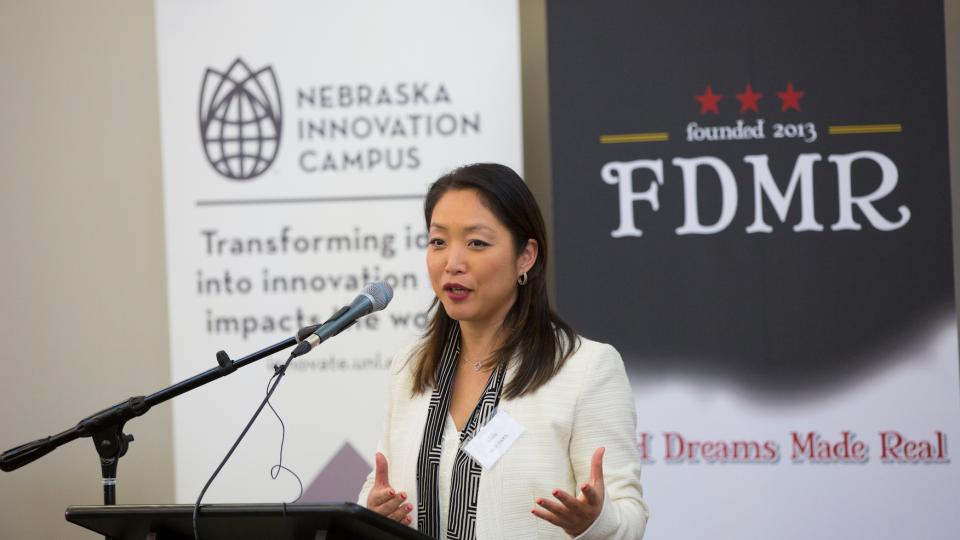 Suji Park speaks at an April 20 announcement at Nebraska Innovation Campus.