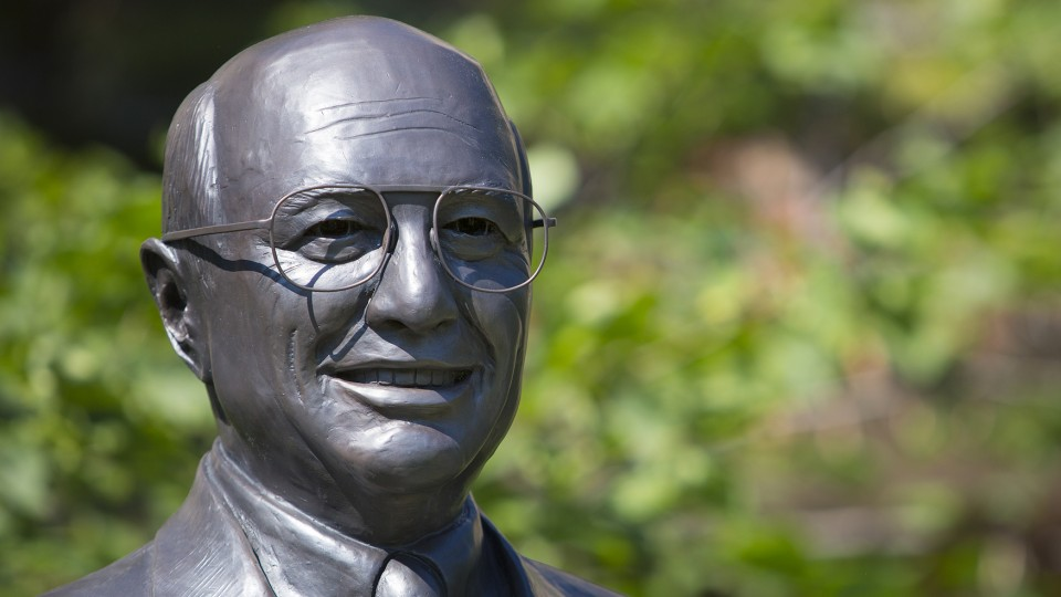 A statue on campus honors former U.S. Agriculture Secretary Clayton Yeutter. The university has announced three endowed chairs as the foundation of the Clayton K. Yeutter Institute of International Trade and Finance.