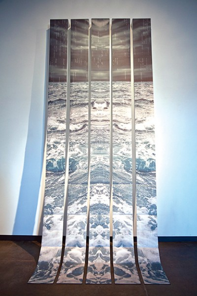 """Nicole Pietrantoni, """"Precipitous."""" 14' x 6'. Inkjet on Awagami Inbe Thick, folded and bound into 5 accordion books (each 22 pages) that expand to create a panoramic image."""