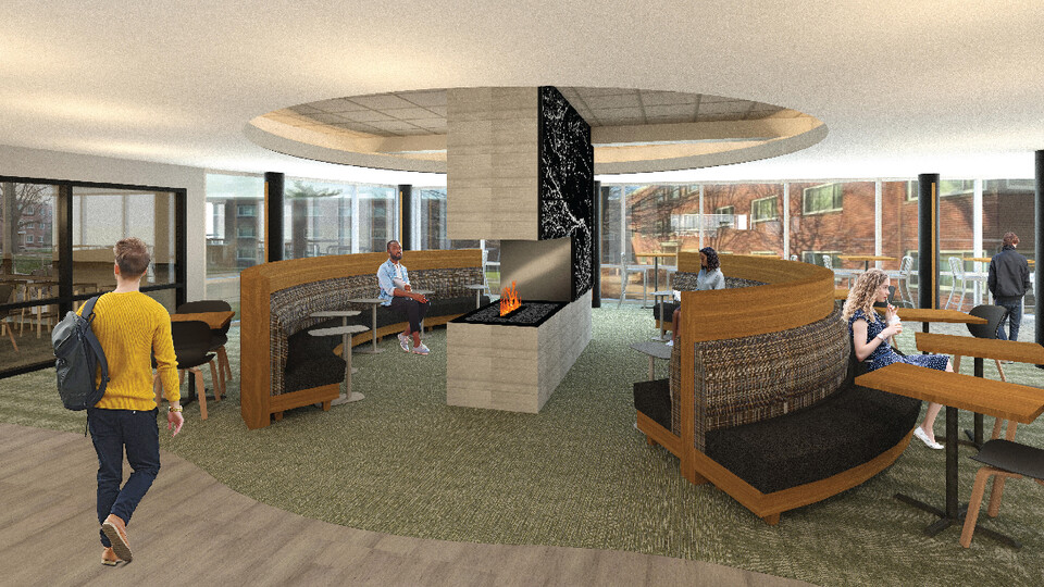 Rendering of the fireplace seating area in the Selleck Food Court.