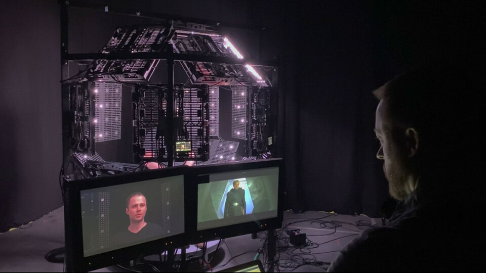 """Trent Claus (right) on set with """"The Egg,"""" Lola VFX's proprietary lighting rig, shooting picture double Max Lloyd-Jones to help recreate actor Mark Hamill as a young Luke Skywalker on """"The Mandalorian."""" Photo courtesy of Disney+."""