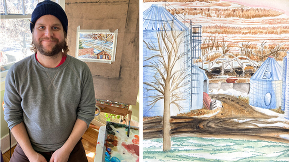 Left: Assistant Professor of Practice Byron Anway in his home studio. Right: Joselyn Andreasen's View from her Studio Window assignment.