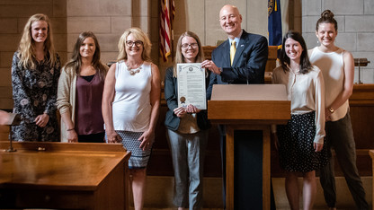 Husker advocates for aphasia awareness, earns state recognition