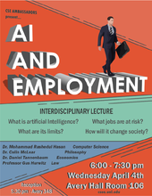 Lecture to discuss artificial intelligence, employment