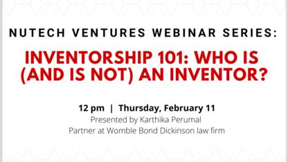NUtech Ventures to host free 'Inventorship 101' webinar