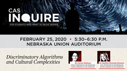 Anthropology, algorithms topics of next CAS Inquire talk