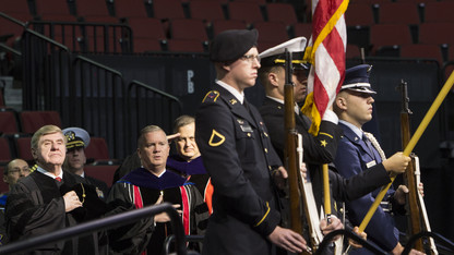 Veterans salute to join commencement regalia