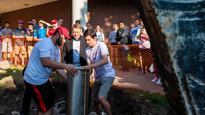 Engineering expansion temporarily unearths time capsule