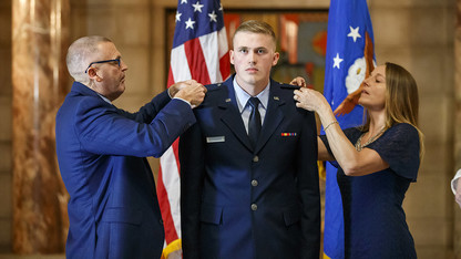 Two ROTC cadets receive military commissions