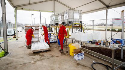 USDA meatpacking inspectors receive hand sanitizer made at Nebraska U