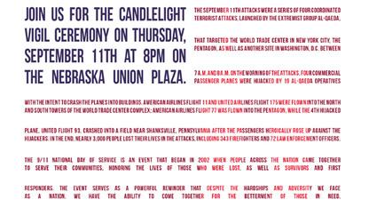 UNL hosts 9/11 candlelight vigil
