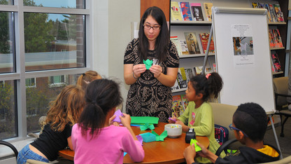 Volunteer puts together Origami exhibit