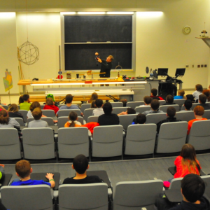 UNL's Cliff Bettis delivers a Saturday Science lecture in Ferguson Hall.