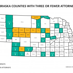 Thirty-one of Nebraska's 93 counties have three or fewer lawyers.