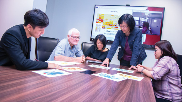 The research team includes, from left, Evan Choi, Rodrigo Cantarero, Maria de Guzman, Soo-Young Hong and Irene Padasas.