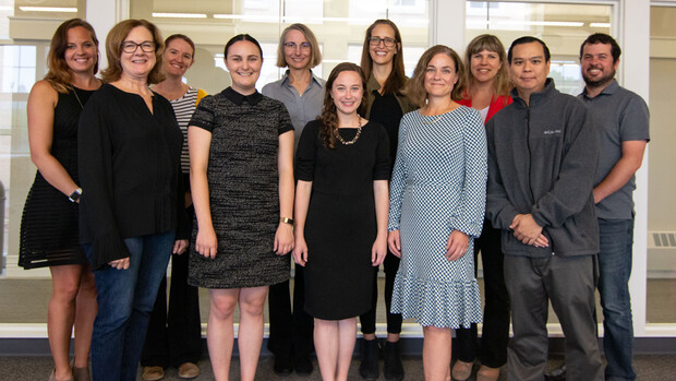 Members of the executive function collaboration infrastructure team include, from left, Jolene Johnson, Kathleen Gallagher, Carrie Clark, Kimia Akhavein, Anne Schutte, Jenna Finch, Danae Dinkel, Amanda Witte, Irina Patwardhan, Philip Lai and Marc Goodrich