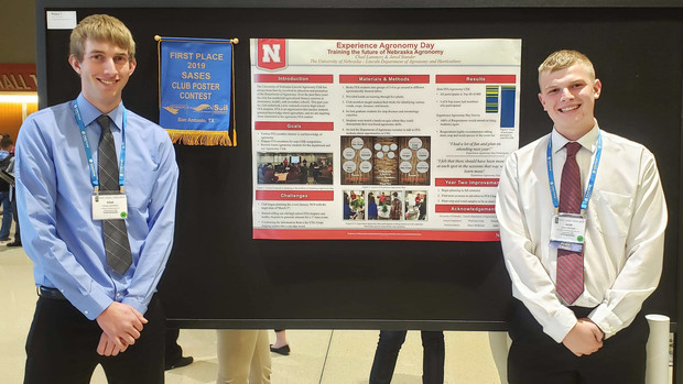 Chad Lammers and Jared Stander presented the Agronomy Club's first-place poster in the Students of Agronomy, Soils, and Environmental Science Club Poster Competition Undergraduate.