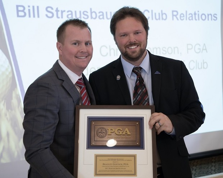 Nebraska PGA Section President Nathan Kalin Presenting Brad Goetsch the Horton Smith Award