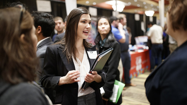 Sarah Clark, senior in computer science, talks with a recruiter during day two of the spring 2019 Career Fair. | Craig Chandler, University Communication