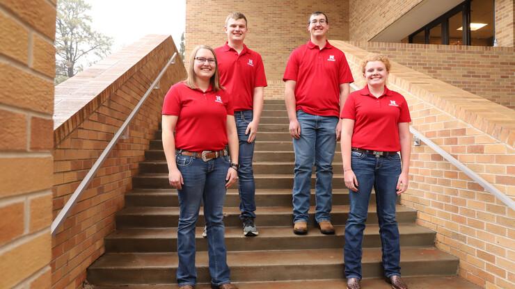 Nebraska's winning Crops Judging team includes agronomy majors Katie Steffen, left, Jared Stander, Korbin Kudera and Sarina Janssen.