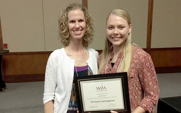Leah Sandall, agronomy distance education coordinator, with Michaela Cunningham at the WSA awards ceremony.