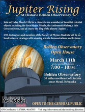 Behlen Observatory Open House March 11, 7:00 - 10:00 p.m.
