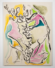 """Emma Lyness, """"lupine,"""" watercolor, acrylic and ink on canvas, 48.5"""" x 36.5"""" x 1.5"""", 2020."""