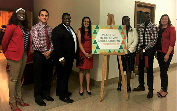 UNL Representatives pictured (left to right): Kerra Russell, Moi Padilla, Kevin Reese, Maricia Guzman, Charlie Foster, Yves Bemba, and Katie Kodad.
