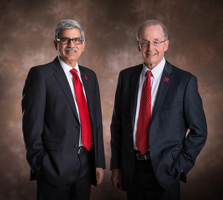 Vice Chancellor Prem S. Paul (left) and Chancellor Harvey Perlman