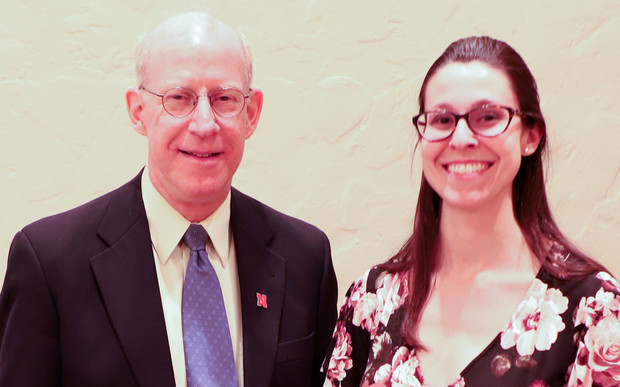 Richard Ferguson with Megan Franklin, receipient of the Martin Massengale Outstanding Senior Award.