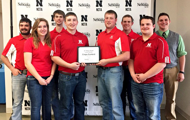 The University of Nebraska–Lincoln Crops Team earns second place at the Nebraska College of Technical Agriculture collegiate crops judging contest March 11 in Curtis, Nebraska.