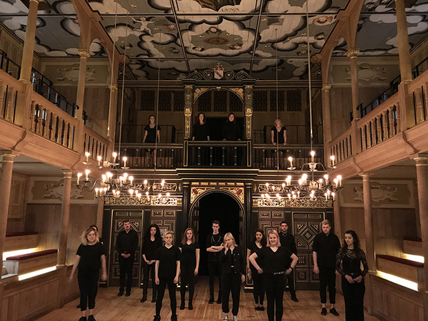 "Students from the Johnny Carson School of Theatre and Film rehearse a final production of ""Romeo and Juliet"" at Shakespeare's Globe Theatre in London. Courtesy photo."