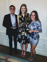 Students (from left) Chris Bowling, Lauren Brown-Hulme and Calla Kessler pose after their receiving Hearst Awards.