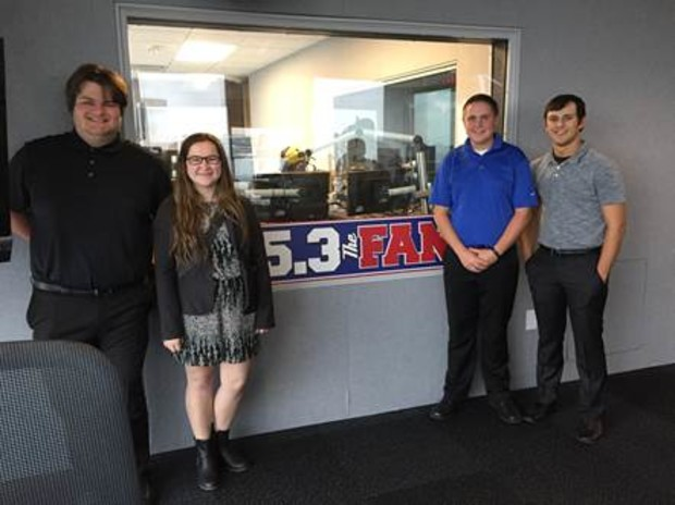 National Broadcasting Society members had the opportunity to tour the CBS radio studios during the South Central Broadcasting Society conference. Pictured (from left) is Nate Muhlbach, Lauren Hubka, Kellan Heavican and Jeremy Davis.
