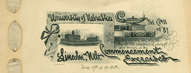 Detail from the commencement program for Nebraska's Class of 1887.
