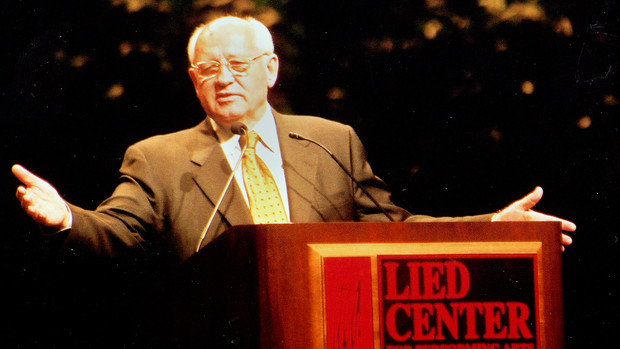 Mikael Gorbachev gestures during his 2002 E.N. Thompson Forum lecture at the Lied Center for Performing Arts.