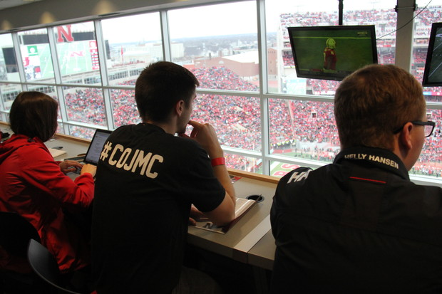 "College of Journalism and Mass Communication students covered the 2018 Red-White Spring game from the Memorial Stadium press box during a ""pop-up"" class on play-by-play sports coverage."