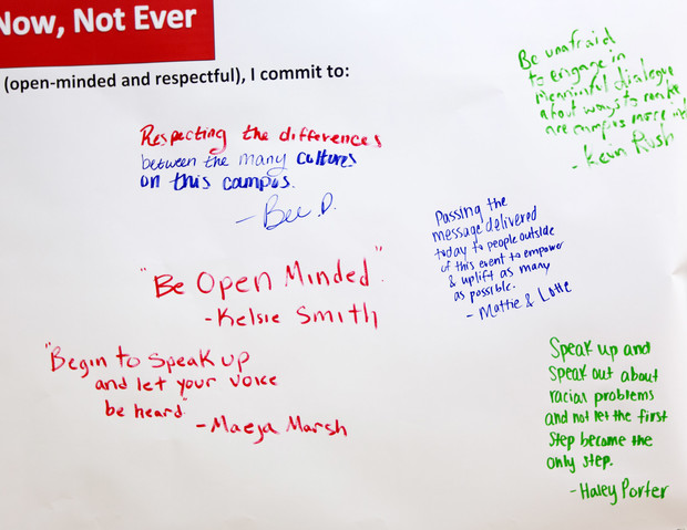 Many students signed a banner petition to show their support for the campaign.