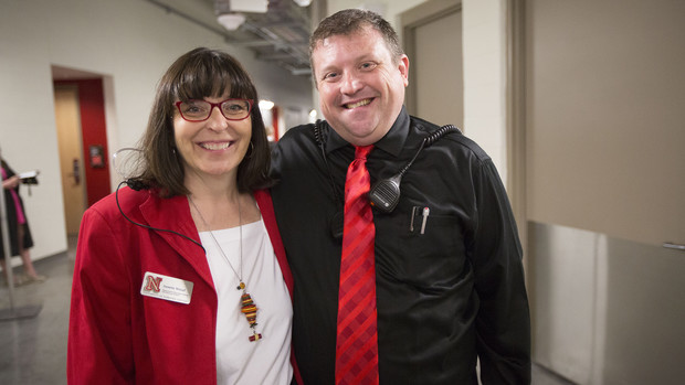 Nebraska's events coordination team includes (from left) Annette Wetzel and Corrie Svehla. Svehla loves the logistical curve balls that come with the job. One of his favorite challenges was figure out how to make campus glow red for the N150 celebration earlier this year.