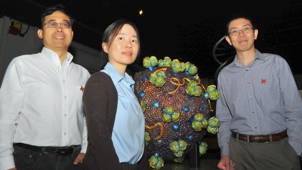 Nebraska researchers (from left) Qingsheng Li, Wei Niu and Jiantao Guo developed a new approach that could improve the effectiveness of the HIV vaccine.