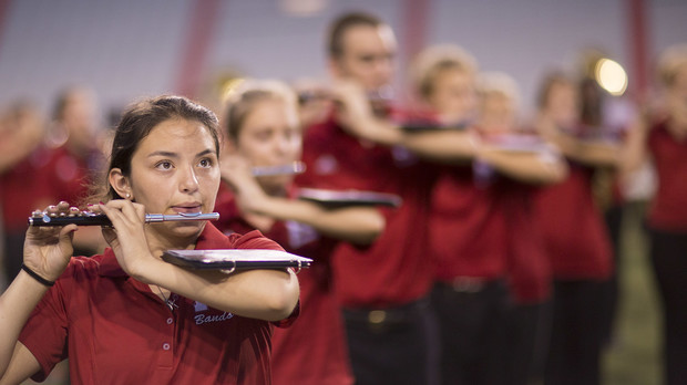 New members of the Cornhusker Marching Band perform during the preview performance in Memorial Stadium on Aug. 22.