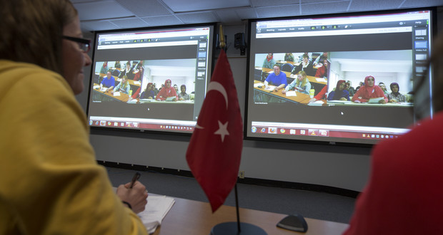 UNL Students interact with their peers in Turkey during an April 2013 session of the Global Classroom led by Charles Braithwaite.