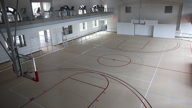 The Recreation and Wellness Center on UNL's East Campus offers two indoor courts. This one can be used for indoor soccer, floor hockey, basketball and dodgeball. The other court is designed for basketball, volleyball and badminton.